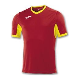 Divisa Joma Champion IV rossa gialla kit calcio sportivo t-shirt manica corta collo a V