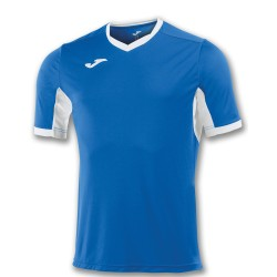 Divisa Joma Champion IV azzurra royal bianca kit calcio sportivo t-shirt manica corta collo a V