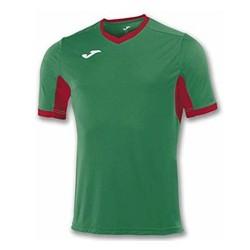 Divisa Joma Champion IV  verde rossa kit calcio sportivo t-shirt manica corta collo a V