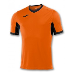 Divisa Joma Champion IV  arancio nera kit calcio sportivo t-shirt manica corta collo a V