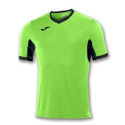 Divisa Joma Champion IV  verde fluo nera kit calcio sportivo t-shirt manica corta collo a V